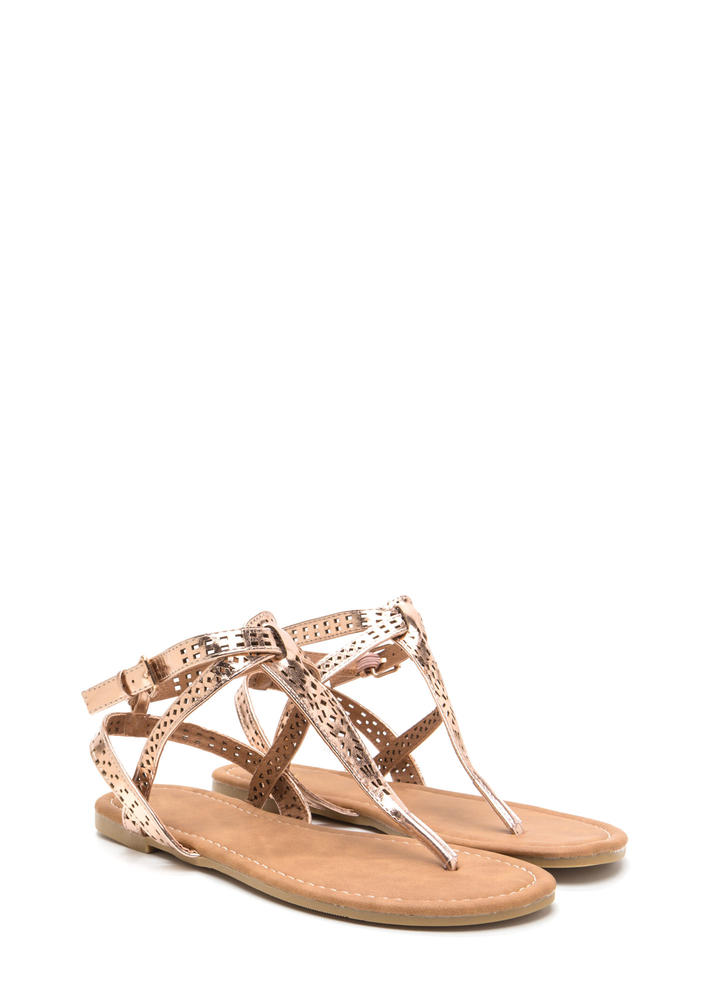 Style Squad Perforated Metallic Sandals ROSEGOLD