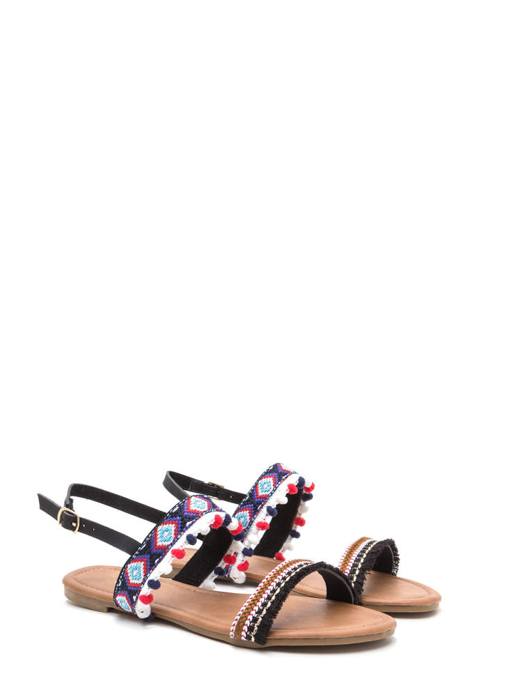 Southwest Trip Woven Embellished Sandals BLACK