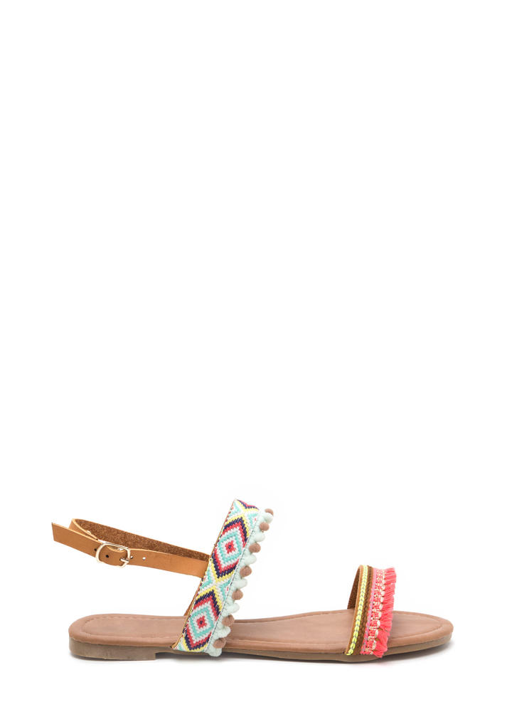 Southwest Trip Woven Embellished Sandals CAMEL