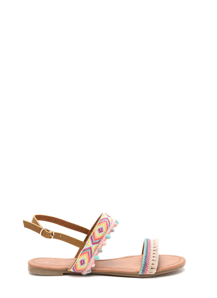 Southwest Trip Woven Embellished Sandals