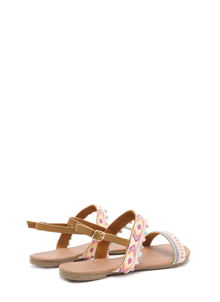 Southwest Trip Woven Embellished Sandals NUDE