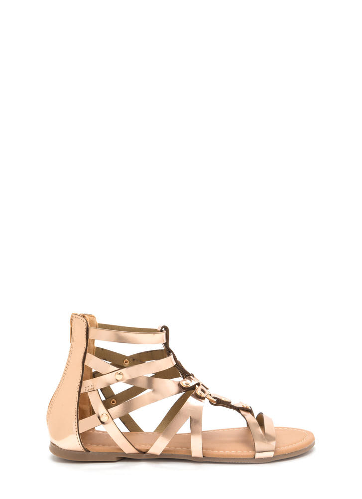 Roman Holiday Caged Metallic Sandals