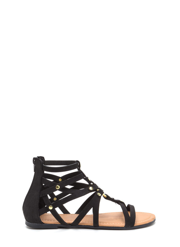 Roman Holiday Caged Faux Nubuck Sandals