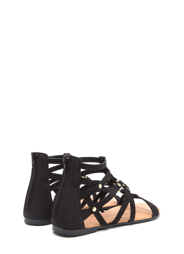 Roman Holiday Caged Faux Nubuck Sandals BLACK