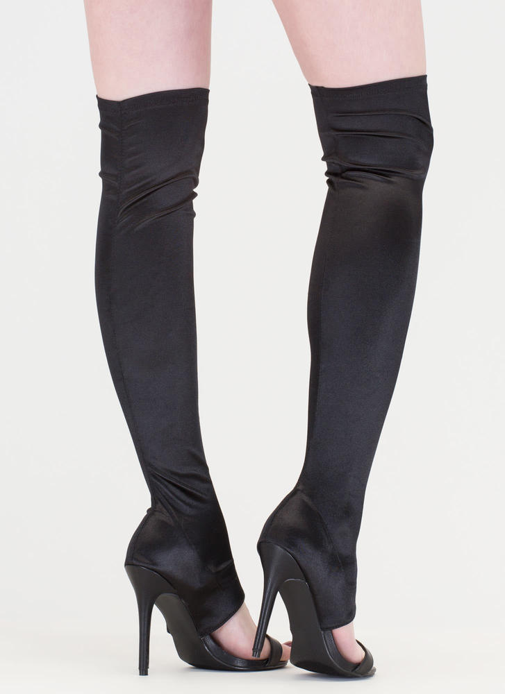 Epic Night Cut-Out Satin Stiletto Boots BLACK