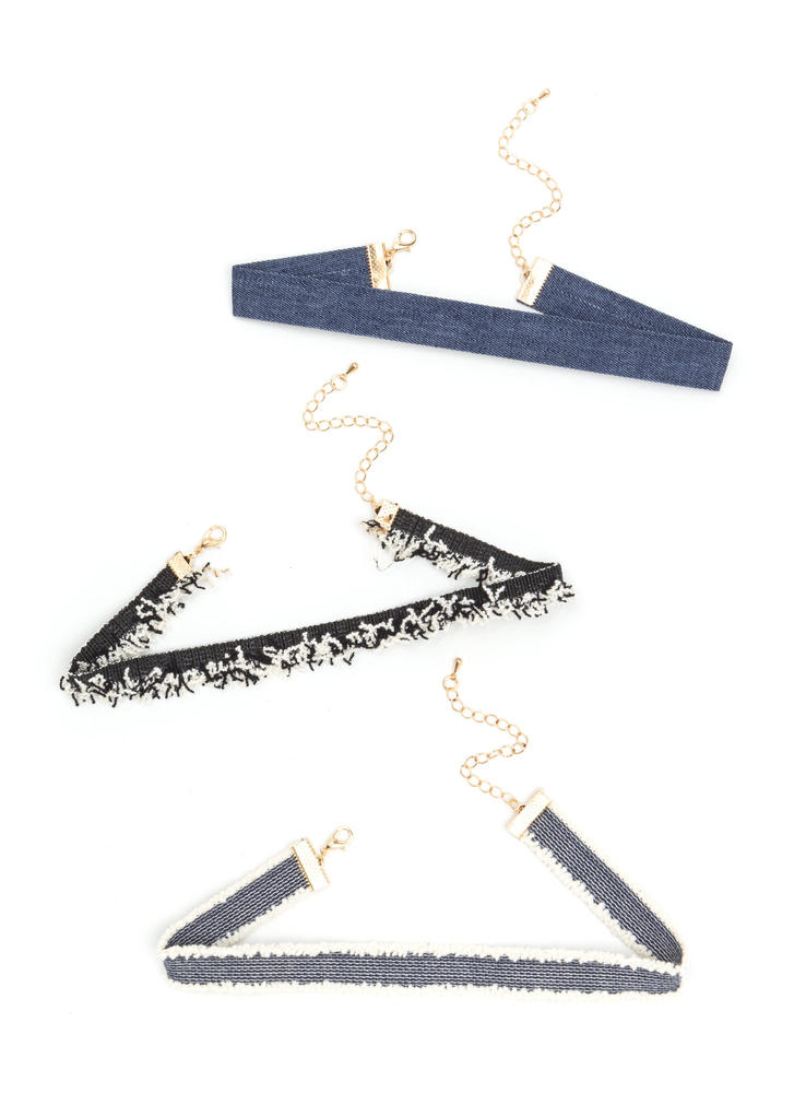 Triple Threat Denim Choker Set BLUE
