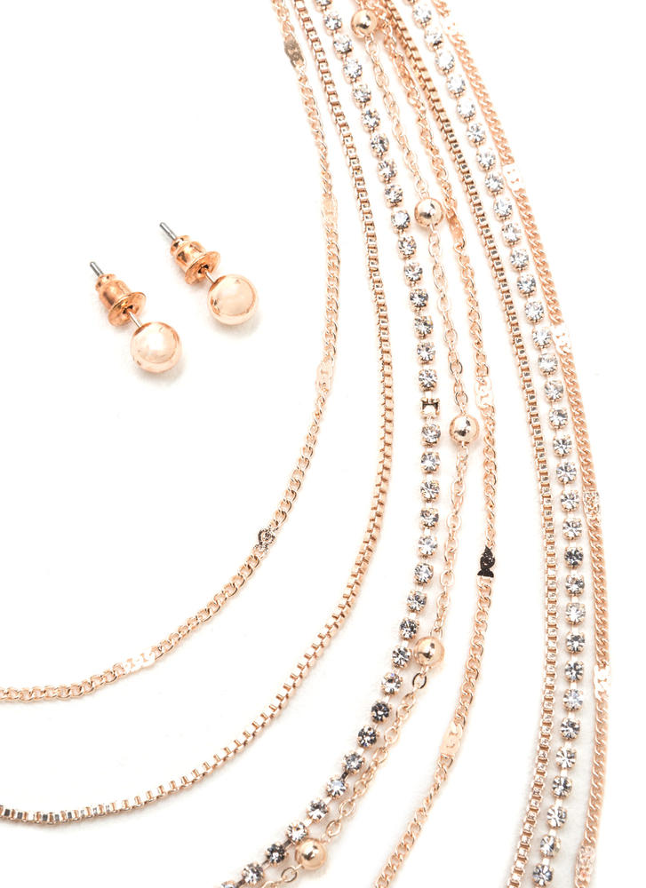 Light Layers Dainty Chain Necklace Set ROSEGOLD