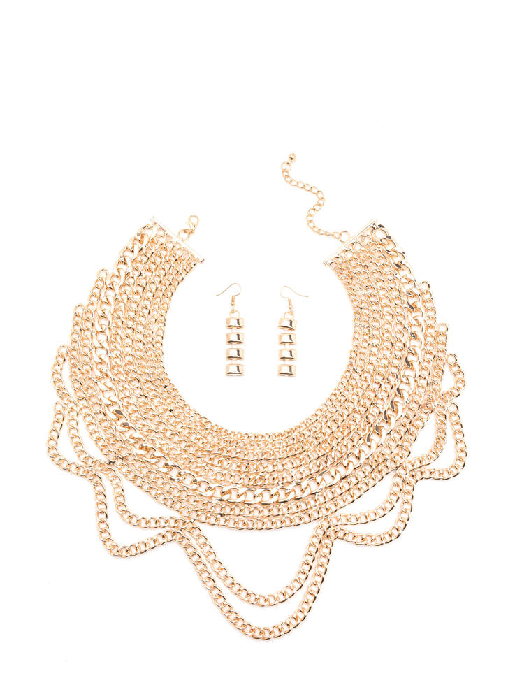 Over The Top Chain Bib Necklace Set