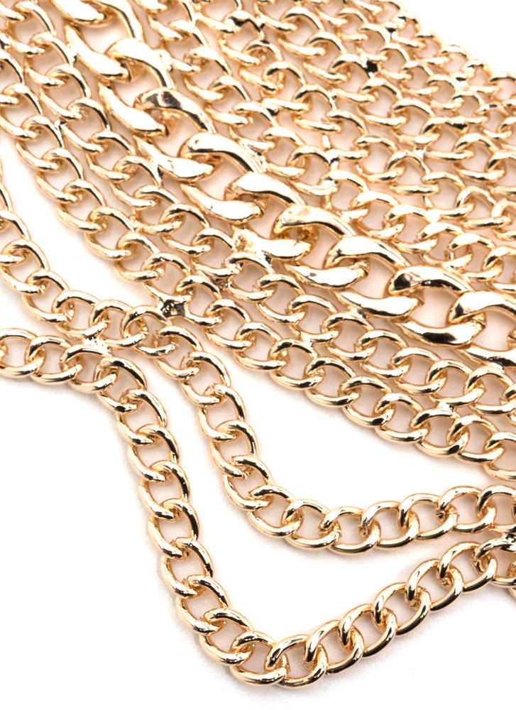 Over The Top Chain Bib Necklace Set GOLD
