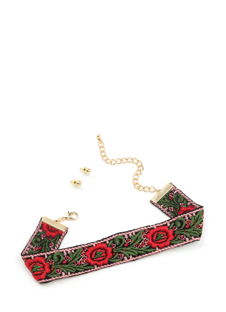 Flower Child Embroidered Choker Set