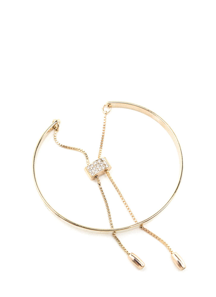 Chic Move Slim Cuff 'N Chain Bracelet GOLD
