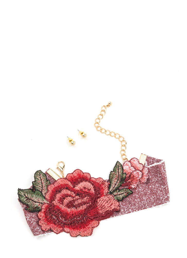 Anything Rose Embroidered Choker Set REDGOLD