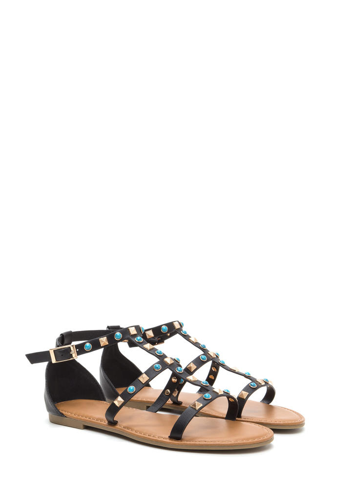 Boho Babe Embellished Caged Sandals BLACK