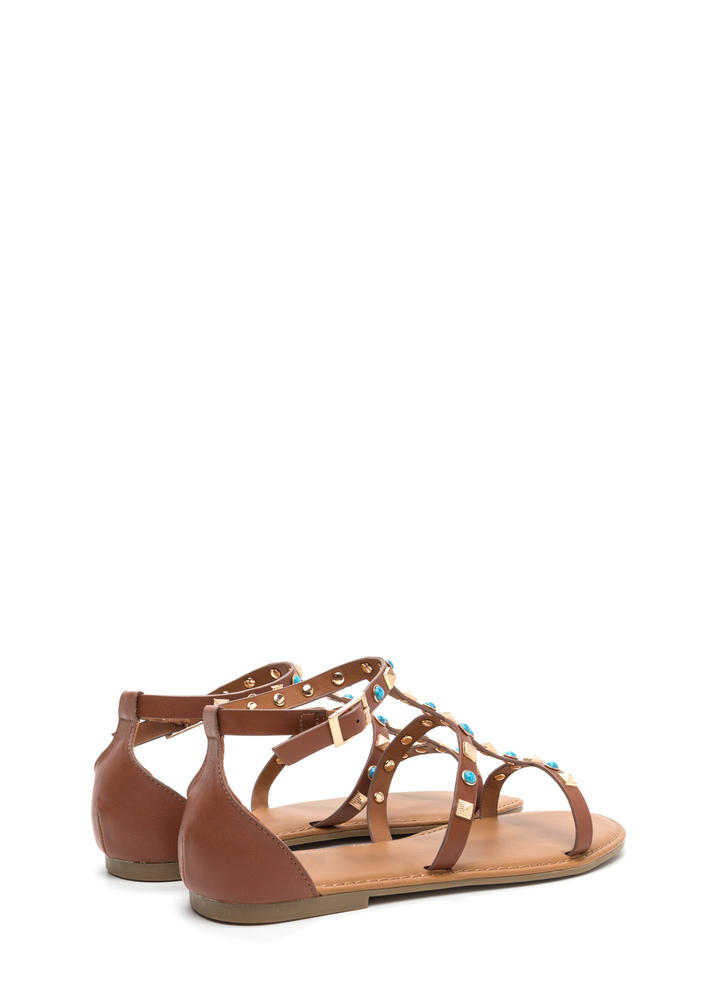 Boho Babe Embellished Caged Sandals CHESTNUT