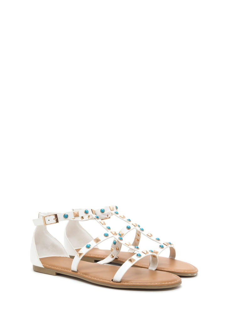 Boho Babe Embellished Caged Sandals WHITE
