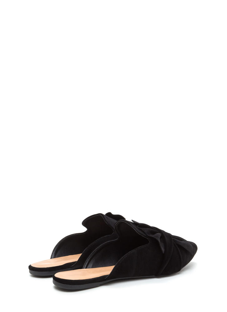 Bow Good Pointy Mule Flats BLACK