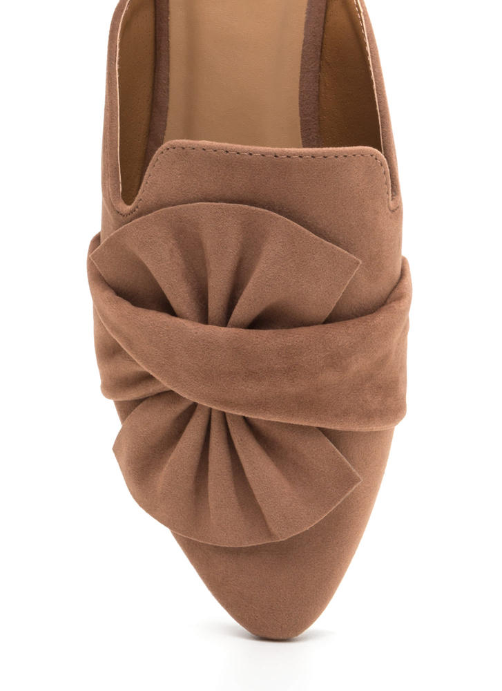 Bow Good Pointy Mule Flats CAMEL