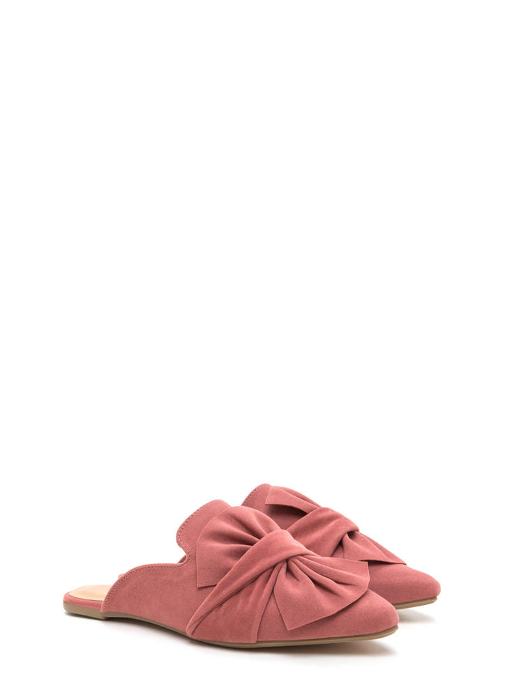 Bow Good Pointy Mule Flats MAUVE