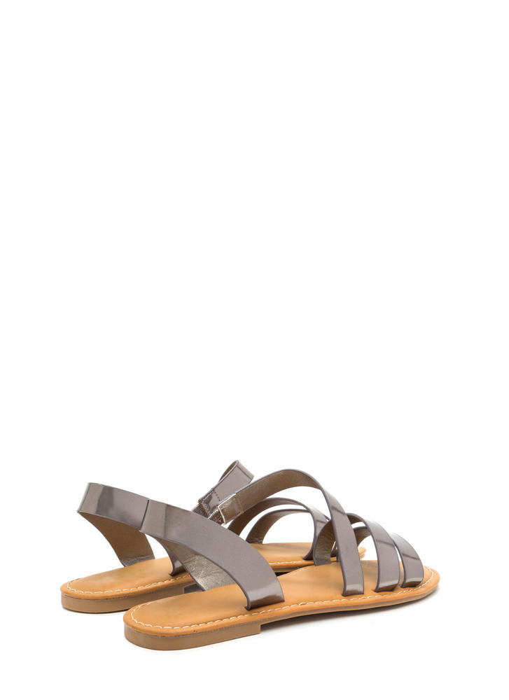 Picture Perfect Strappy Metallic Sandals PEWTER