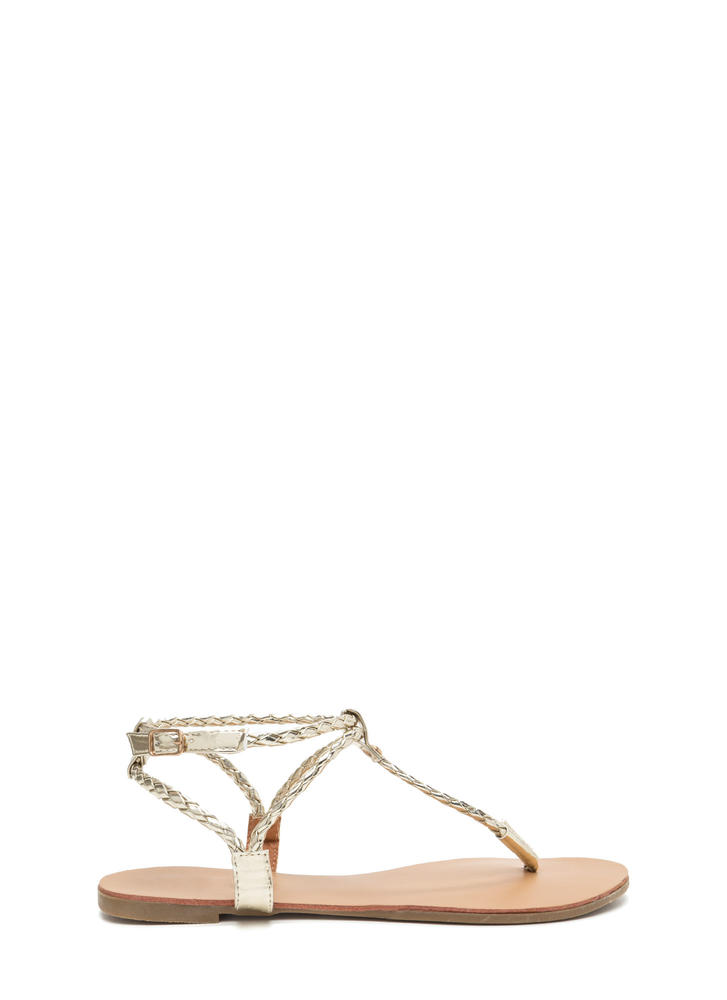 Wear 'N When Metallic T-Strap Sandals