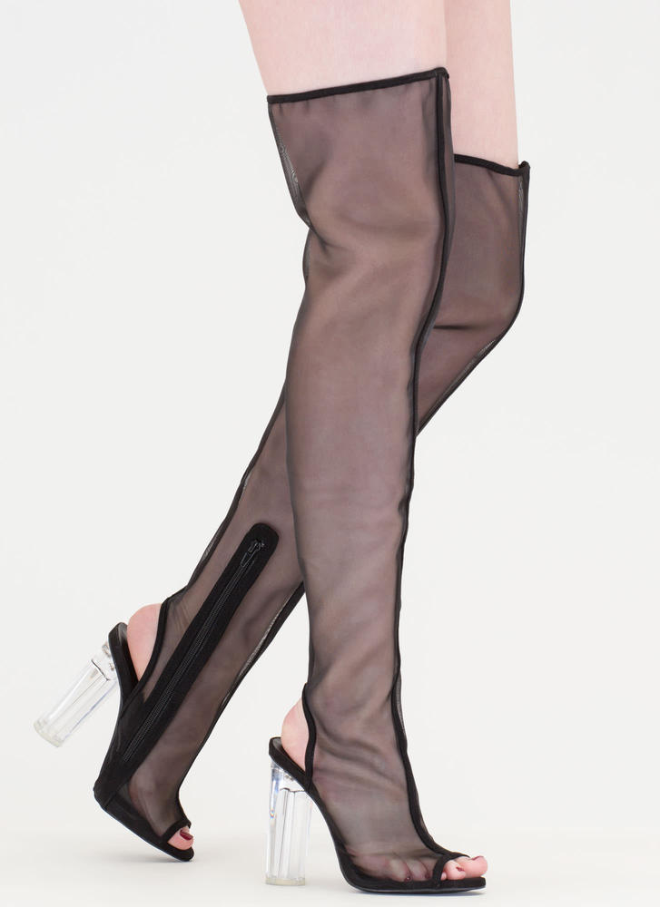 Sheer Me Roar Chunky Thigh-High Boots