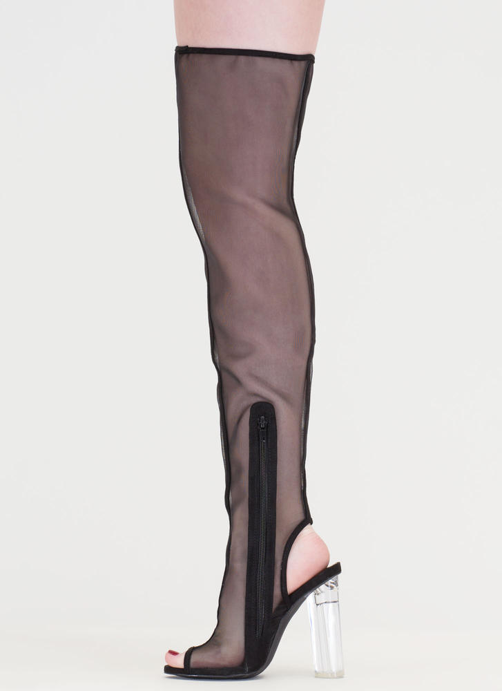 Sheer Me Roar Chunky Thigh-High Boots BLACK
