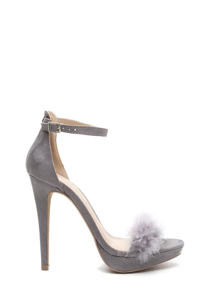 Fab Feathers Strappy Faux Suede Heels