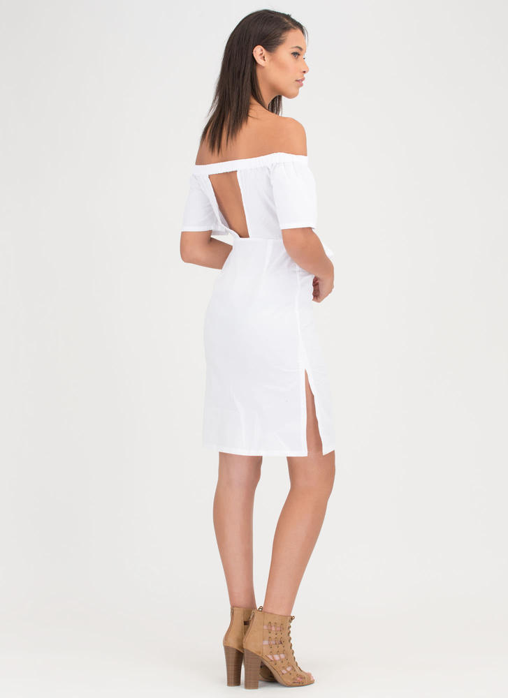 Picnic Date Tied Off-Shoulder Dress WHITE