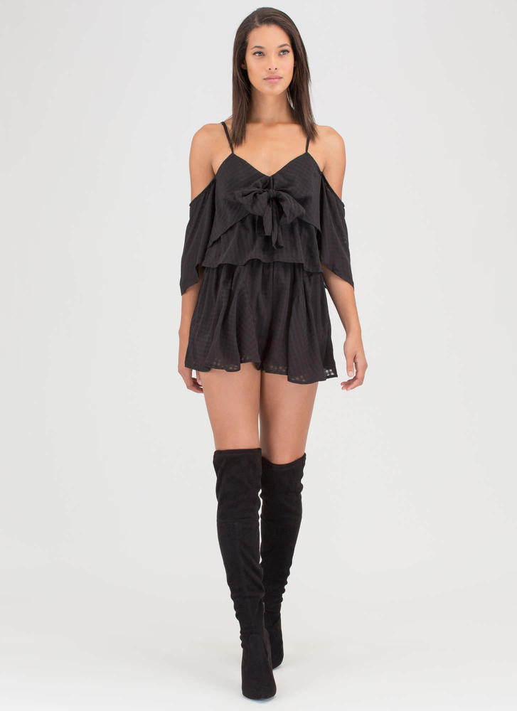 Short 'N Sweet Tied Off-Shoulder Romper BLACK