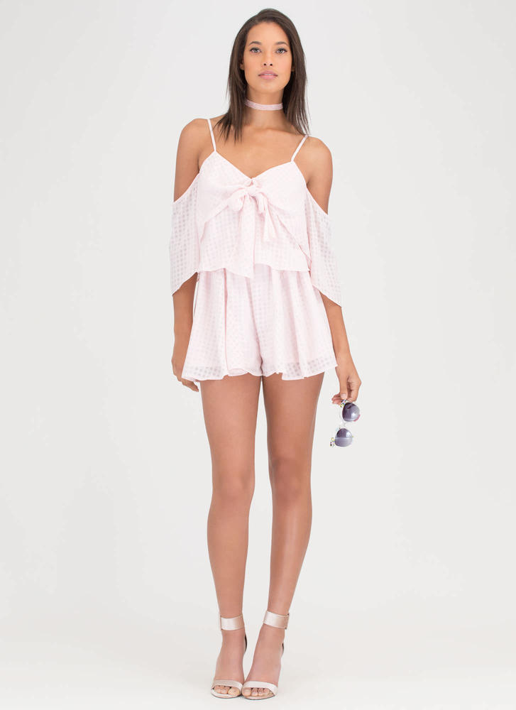 Short 'N Sweet Tied Off-Shoulder Romper BLUSH
