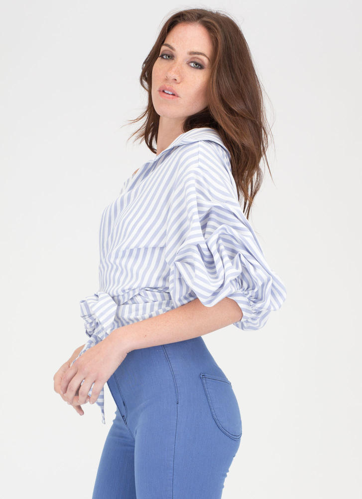 Tie Breaker Deconstructed Striped Shirt LTBLUE