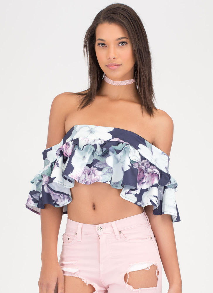 Fleur Real Ruffled Off-Shoulder Crop Top NAVY
