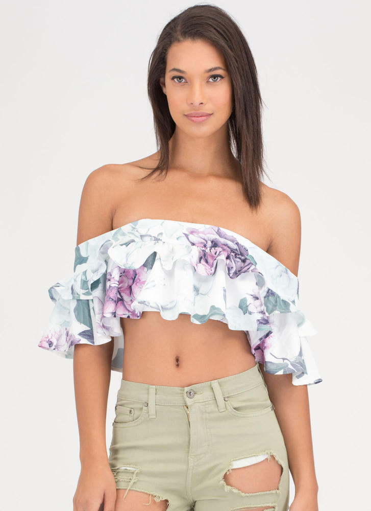Fleur Real Ruffled Off-Shoulder Crop Top