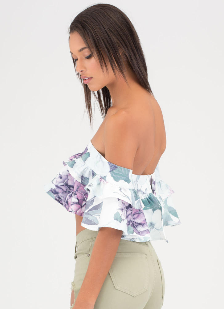 Fleur Real Ruffled Off-Shoulder Crop Top WHITE