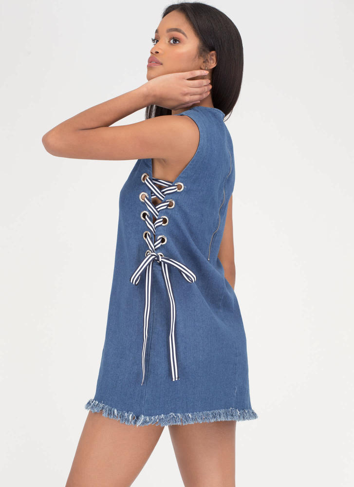 Tie It All Together Denim Minidress BLUE