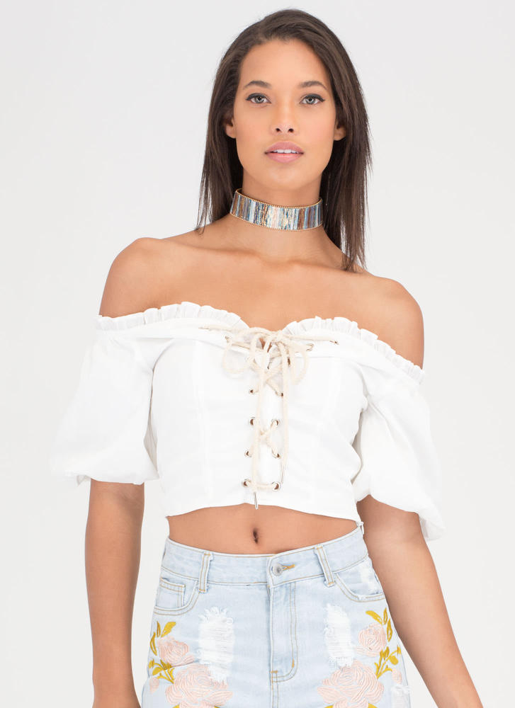 Day Trip Queen Lace-Up Off-Shoulder Top