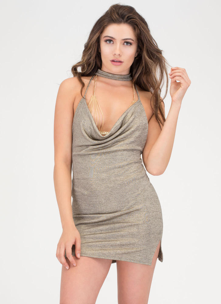 Front Row Seat Metallic Choker Minidress GOLD