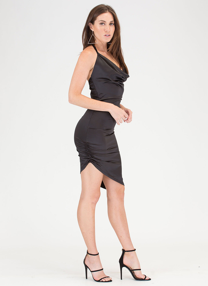 Ruche After You Satin Asymmetrical Dress BLACK