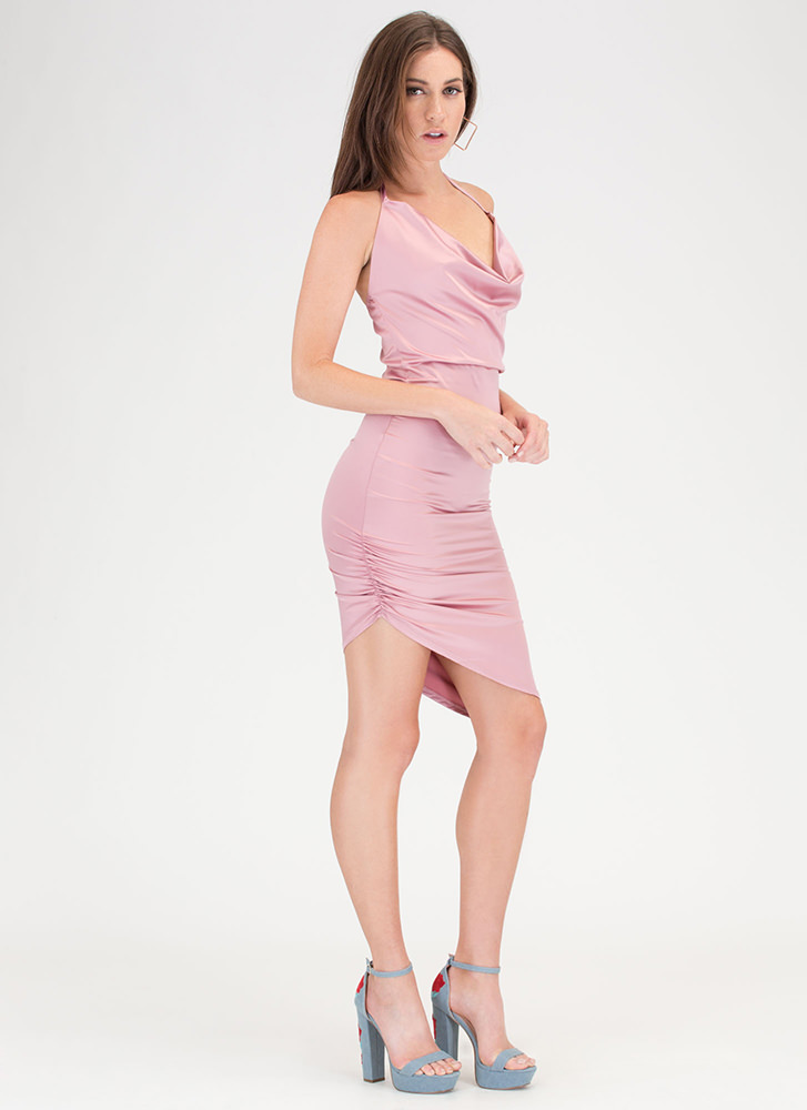 Ruche After You Satin Asymmetrical Dress MAUVE