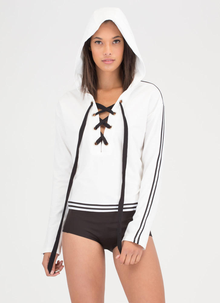 At Leisure Lace-Up Striped Hooded Top WHITE