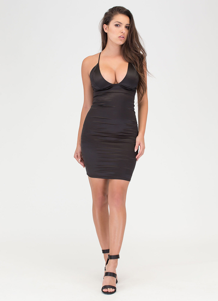 The Silky Way Strappy Plunging Dress BLACK