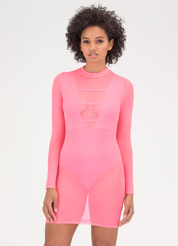 Sheer For You Bodycon Minidress PINK