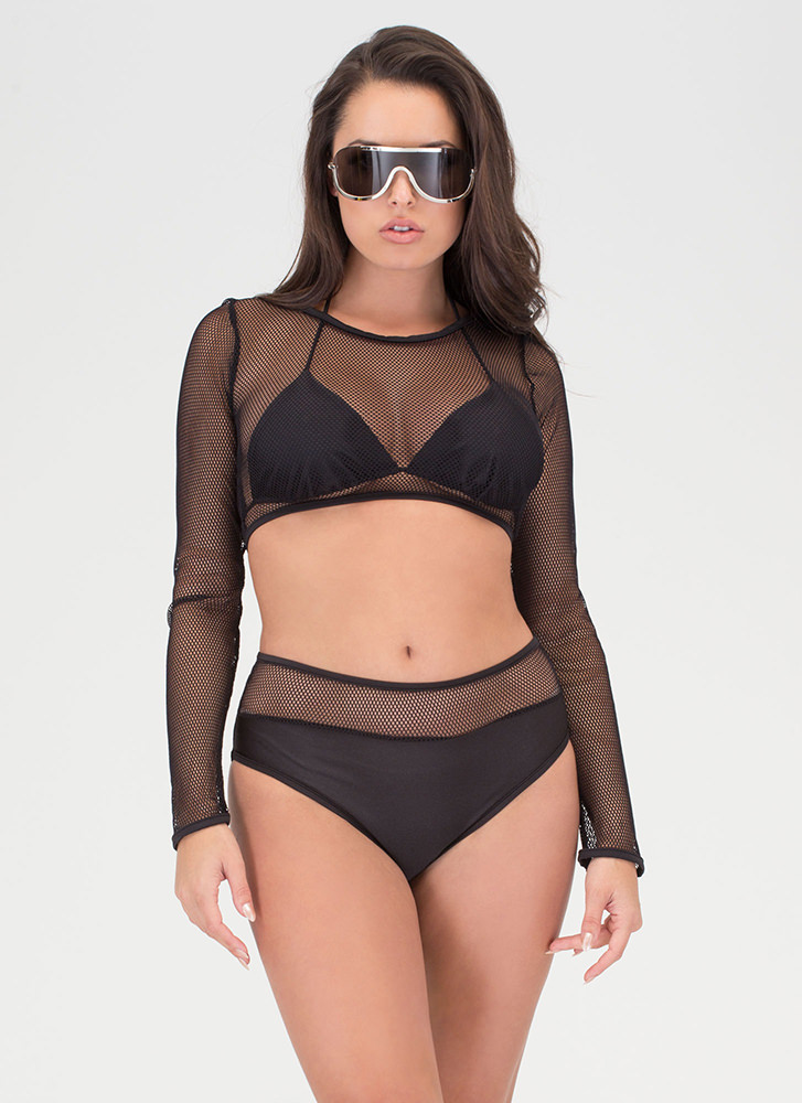 Island Babe Fishnet Bikini Set BLACK (Final Sale)