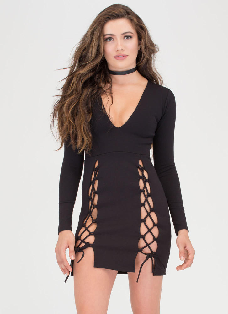 All Tied Up Double-Slit Minidress BLACK