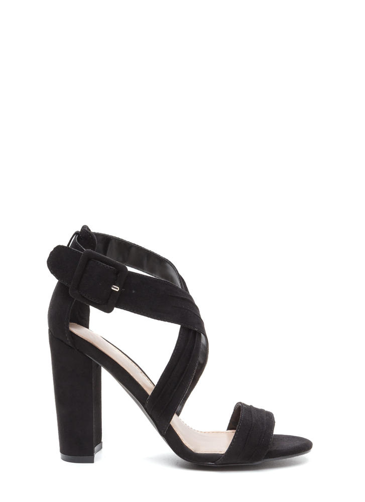 Pleats Say Yes Strappy Chunky Heels