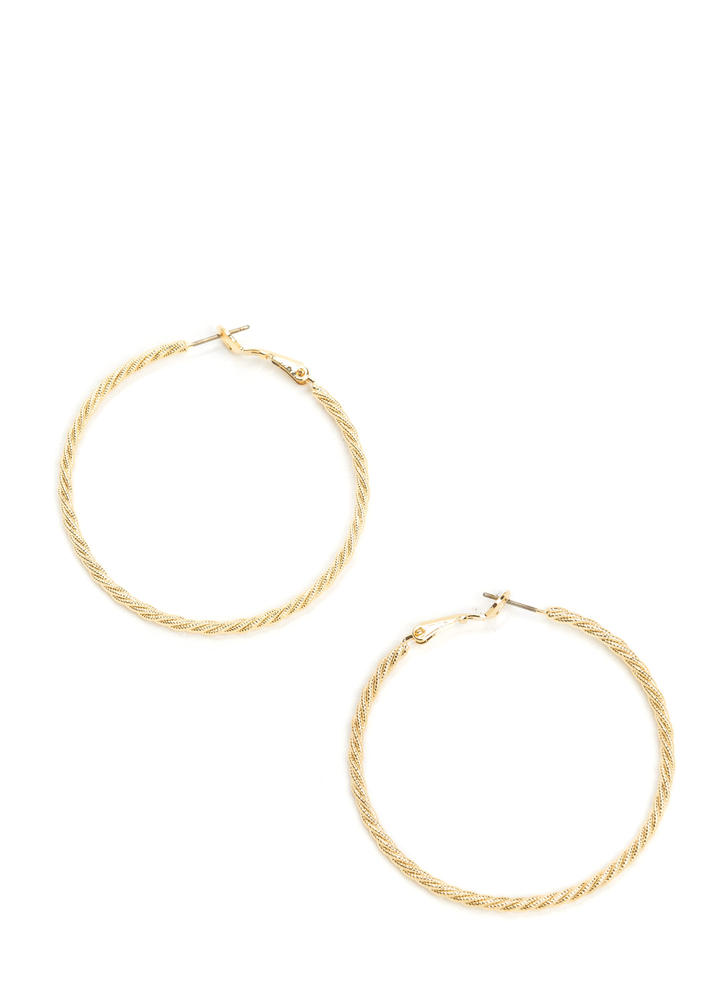 Nineties Babe Twisted Hoop Earrings GOLD