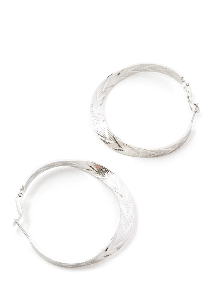 Right This Way Ridged Hoop Earrings SILVER
