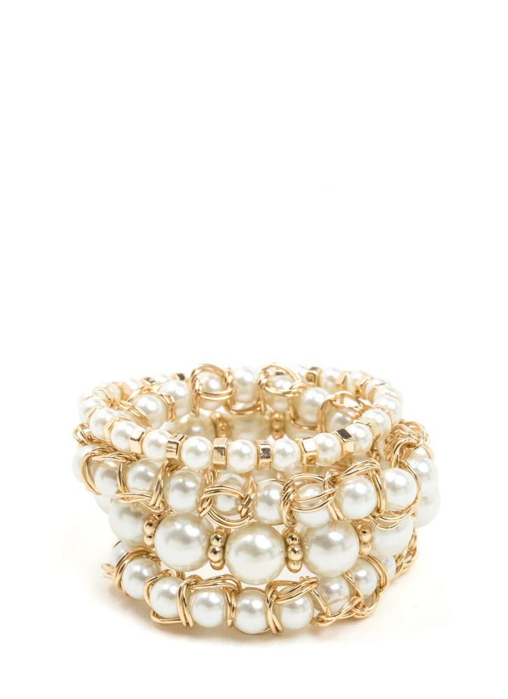 My Lady Stretchy Faux Pearl Bracelet Set IVORYGOLD