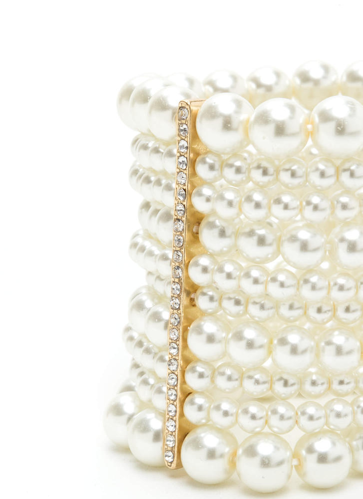 My Lady Stacked Faux Pearl Bracelet IVORYGOLD