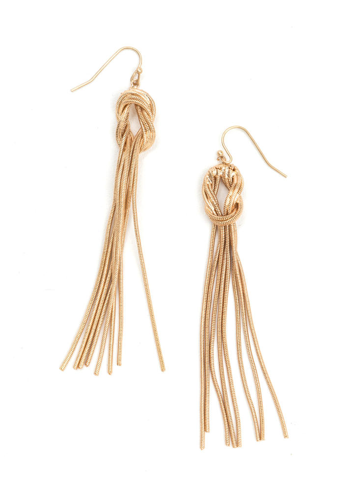Knotty Vibe Dangling Chain Earrings
